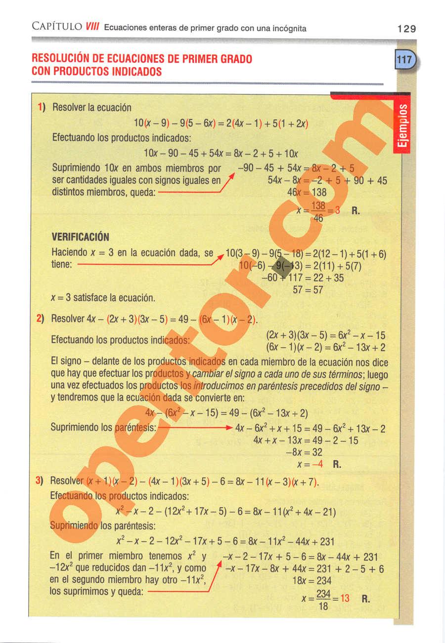 Álgebra de Baldor - Página 129