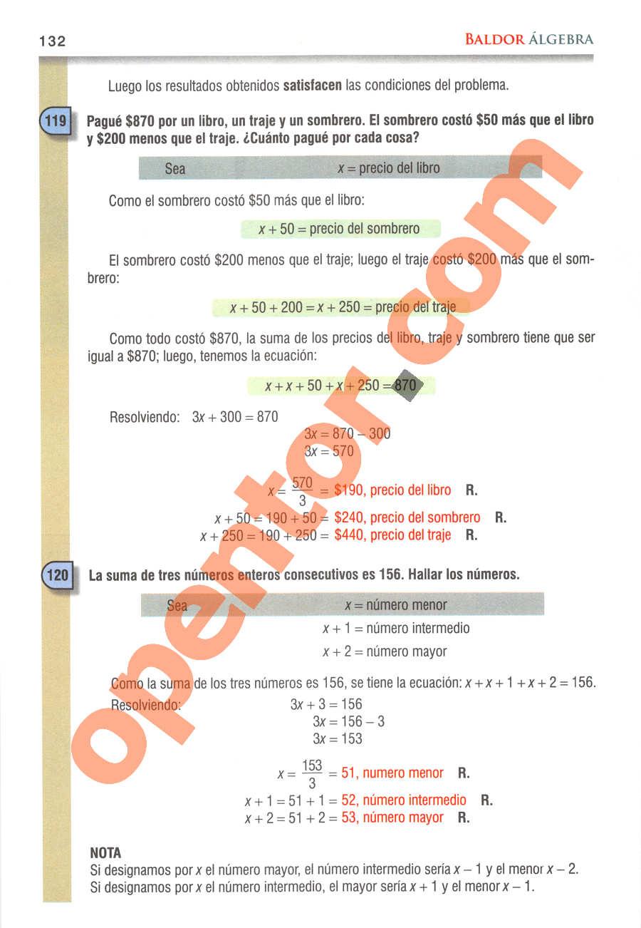 Álgebra de Baldor - Página 132