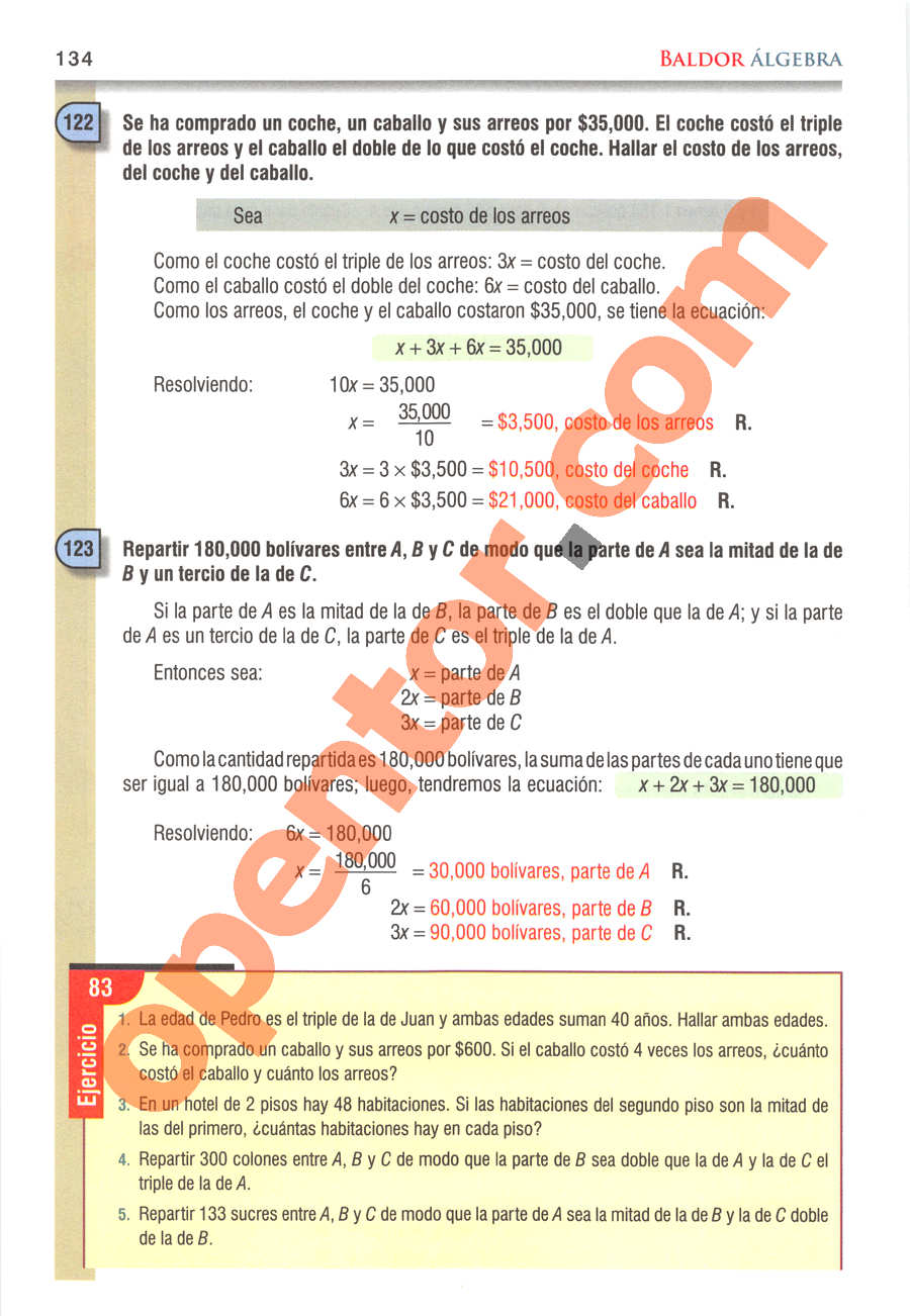 Álgebra de Baldor - Página 134