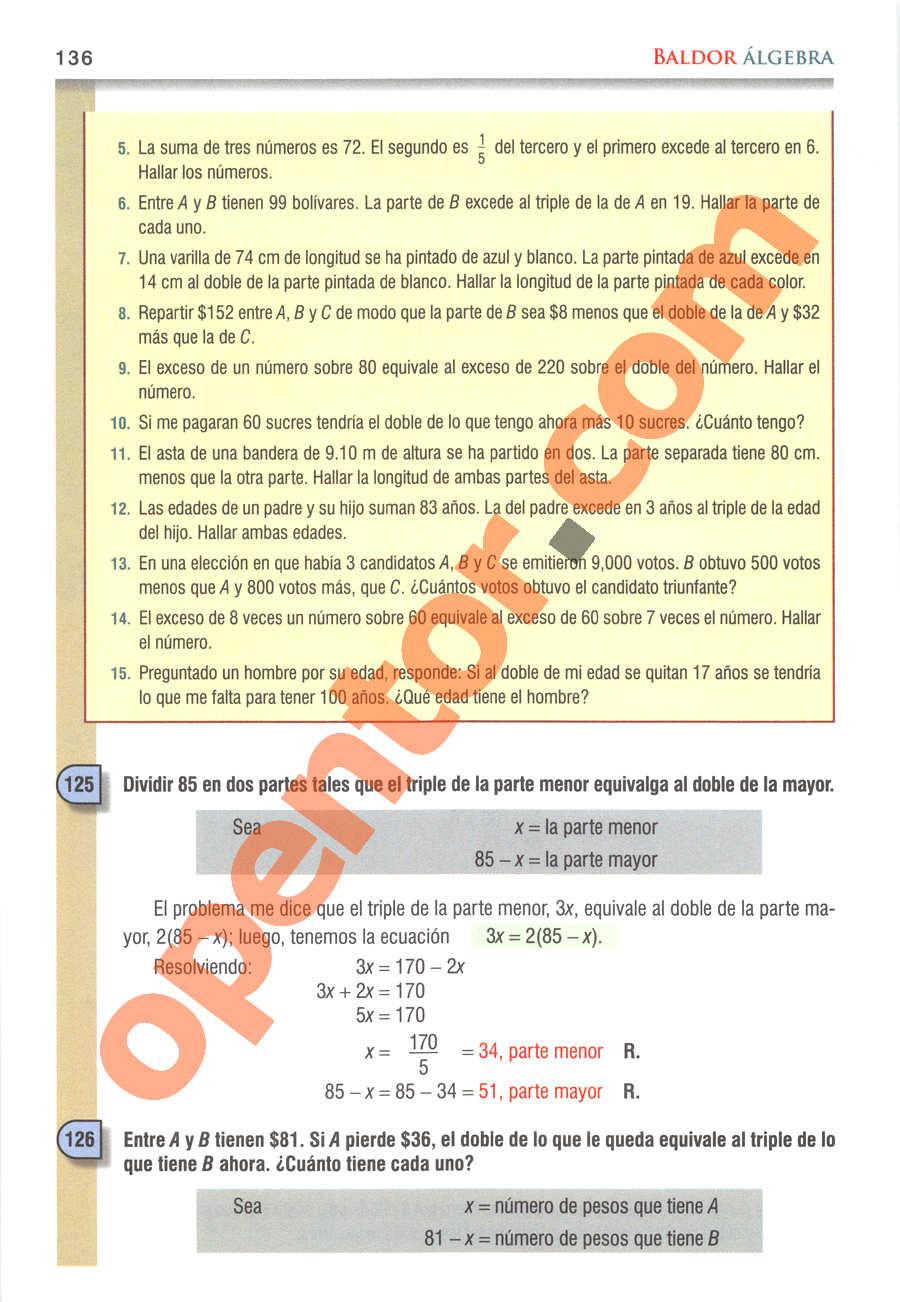 Álgebra de Baldor - Página 136