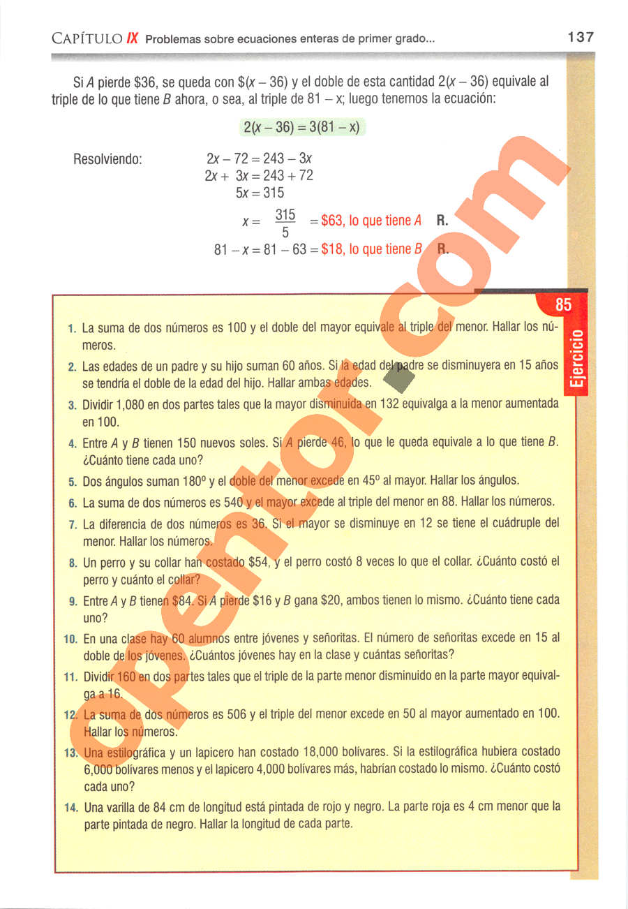 Álgebra de Baldor - Página 137