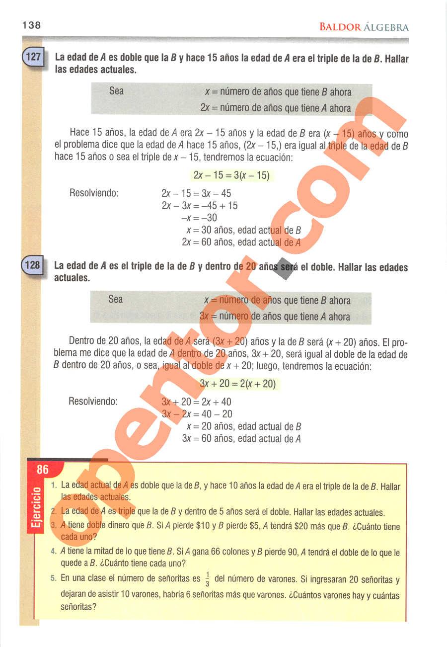 Álgebra de Baldor - Página 138