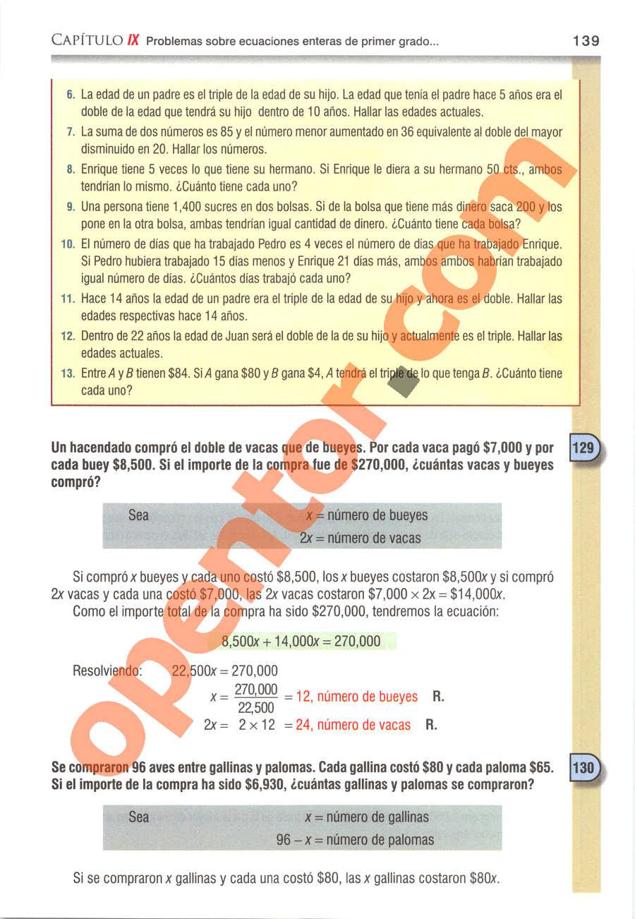 Álgebra de Baldor - Página 139