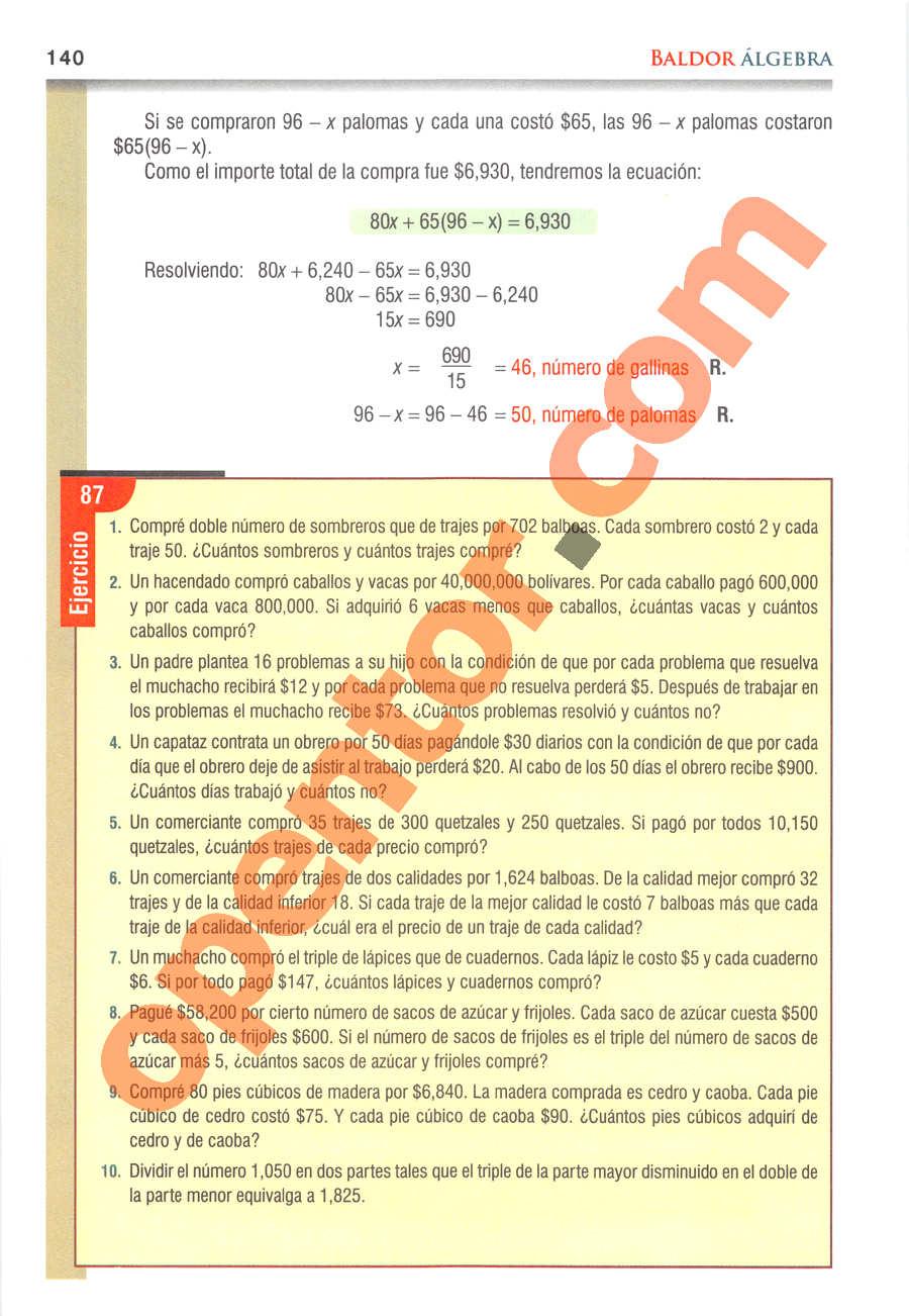 Álgebra de Baldor - Página 140