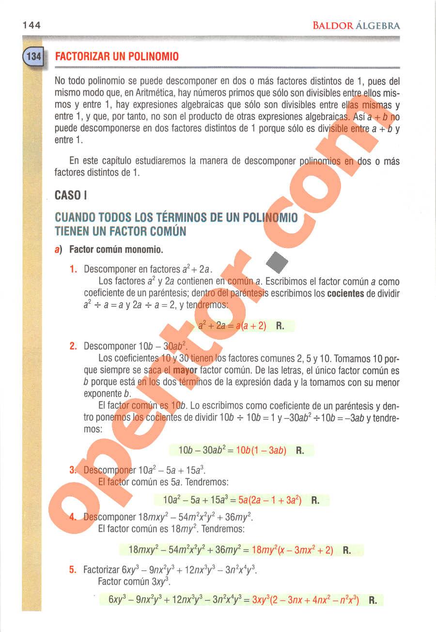 Álgebra de Baldor - Página 144