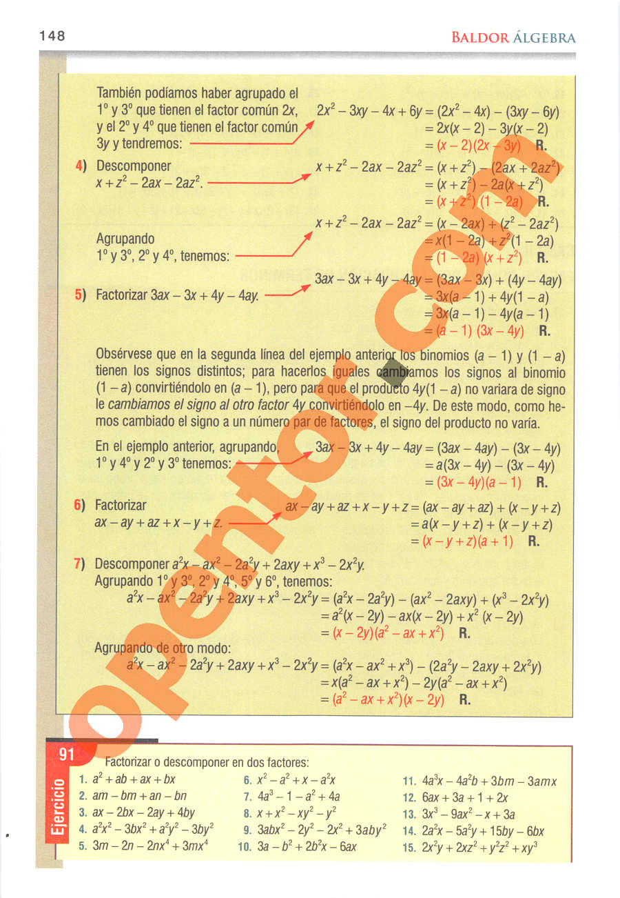 Álgebra de Baldor - Página 148