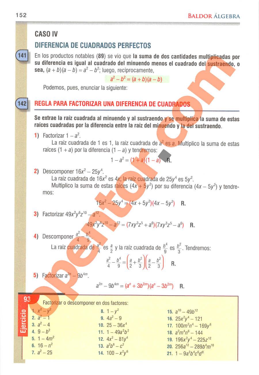 Álgebra de Baldor - Página 152