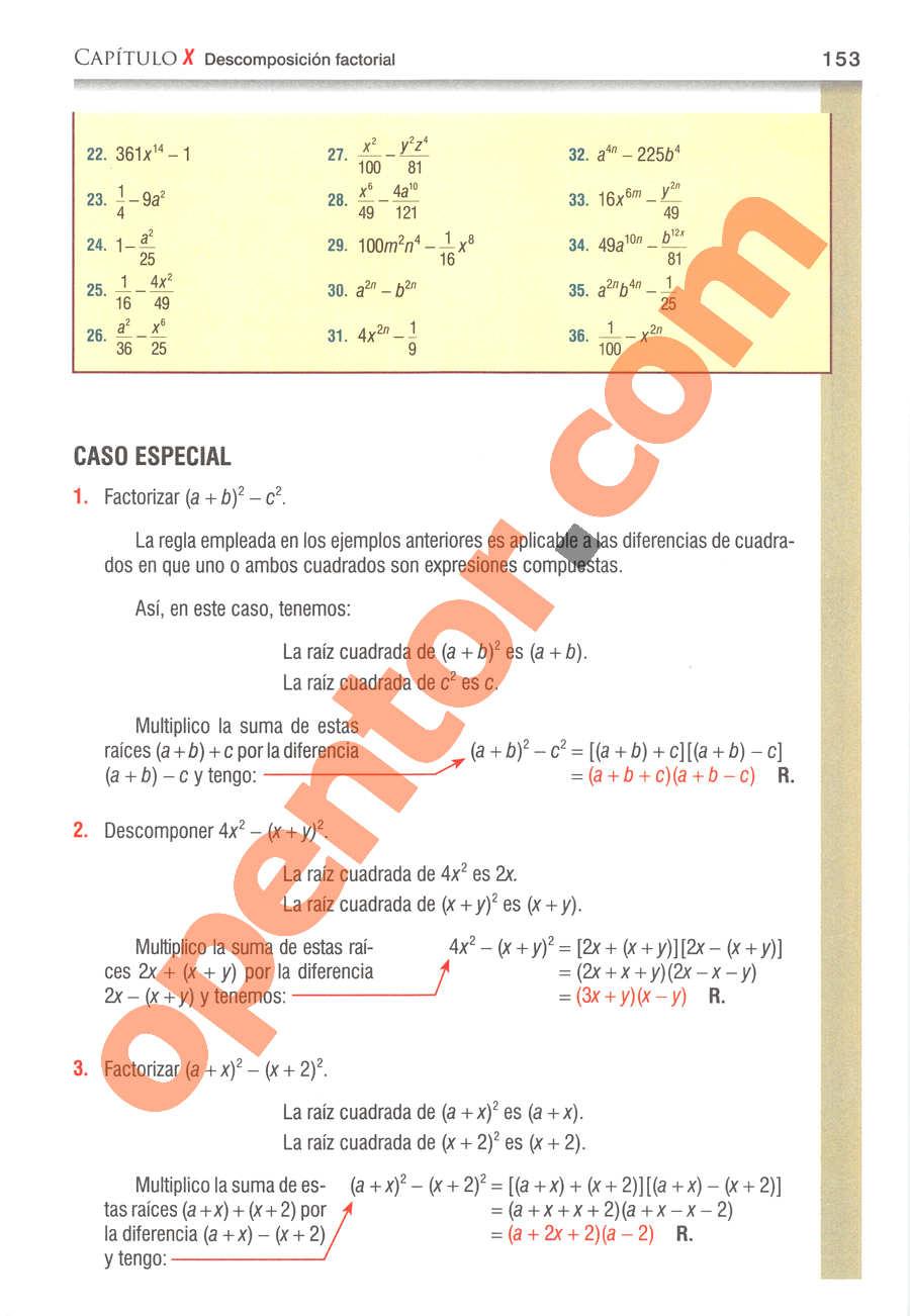 Álgebra de Baldor - Página 153