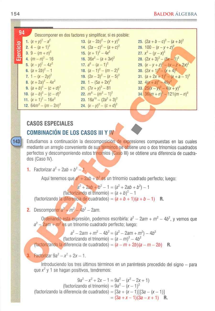 Álgebra de Baldor - Página 154