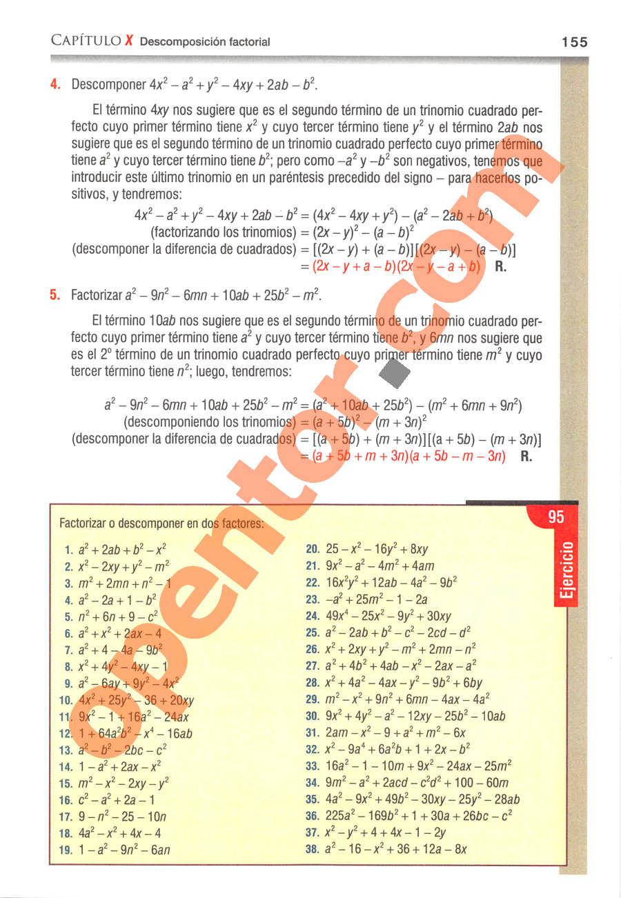 Álgebra de Baldor - Página 155