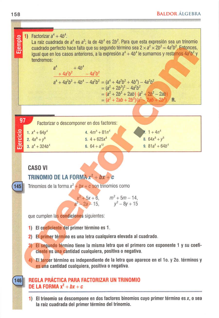 Álgebra de Baldor - Página 158