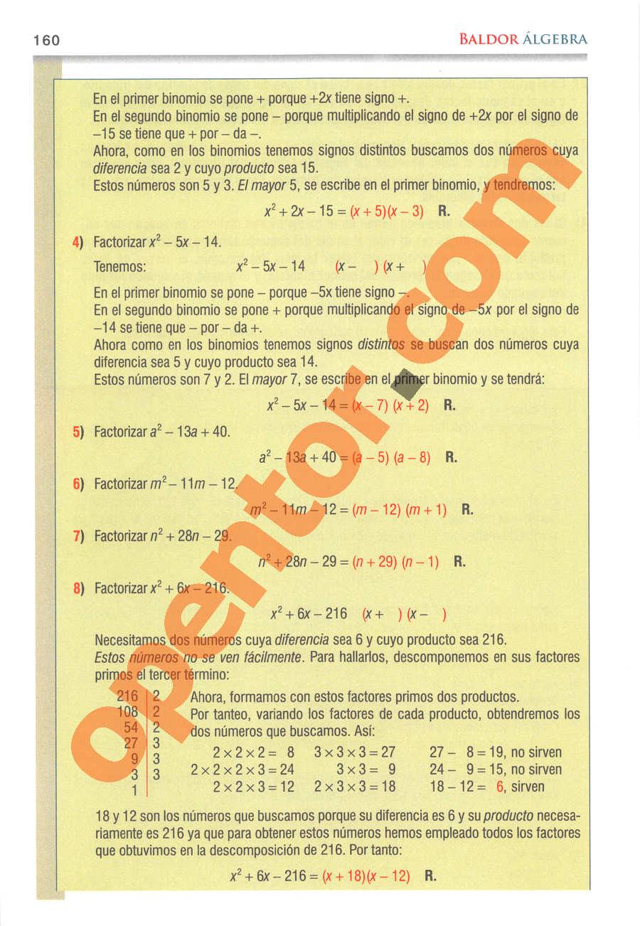Álgebra de Baldor - Página 160