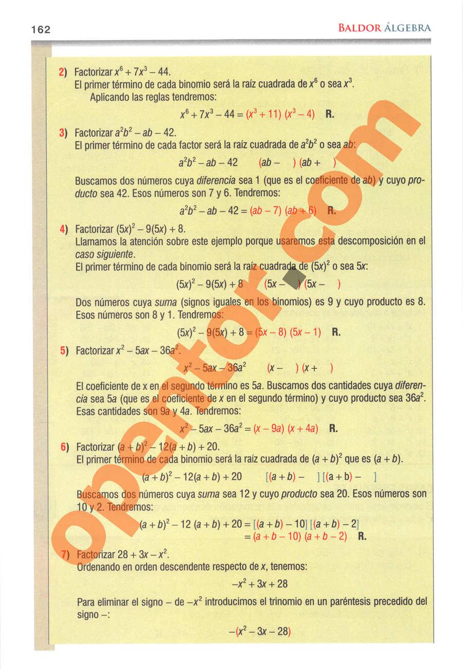 Álgebra de Baldor - Página 162