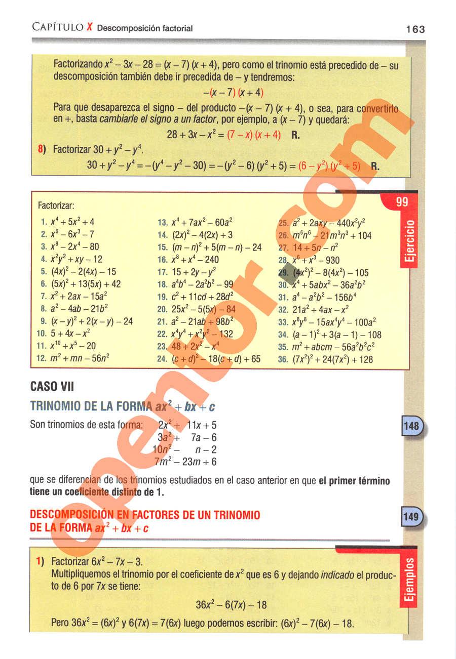 Álgebra de Baldor - Página 163