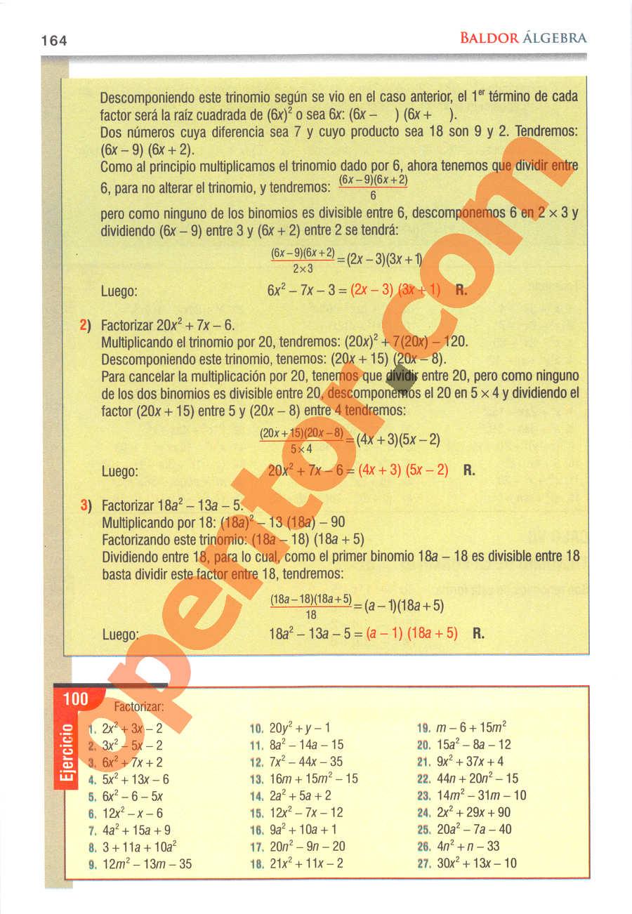 Álgebra de Baldor - Página 164