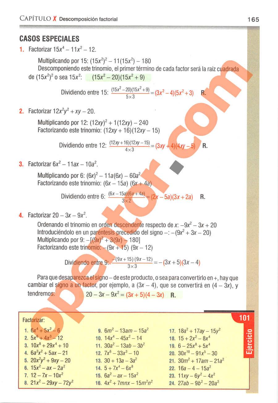 Álgebra de Baldor - Página 165