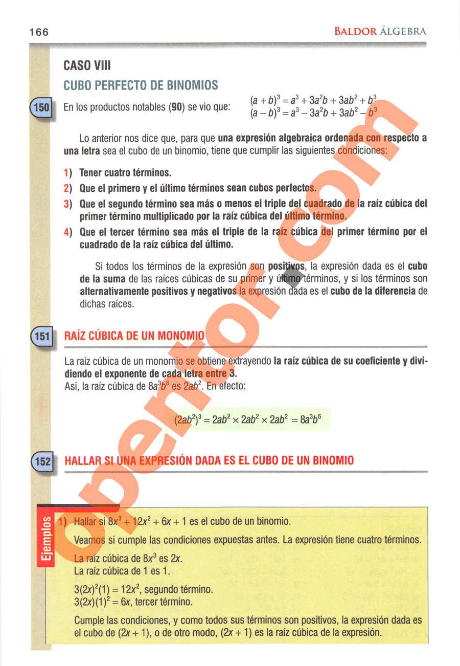 Álgebra de Baldor - Página 166