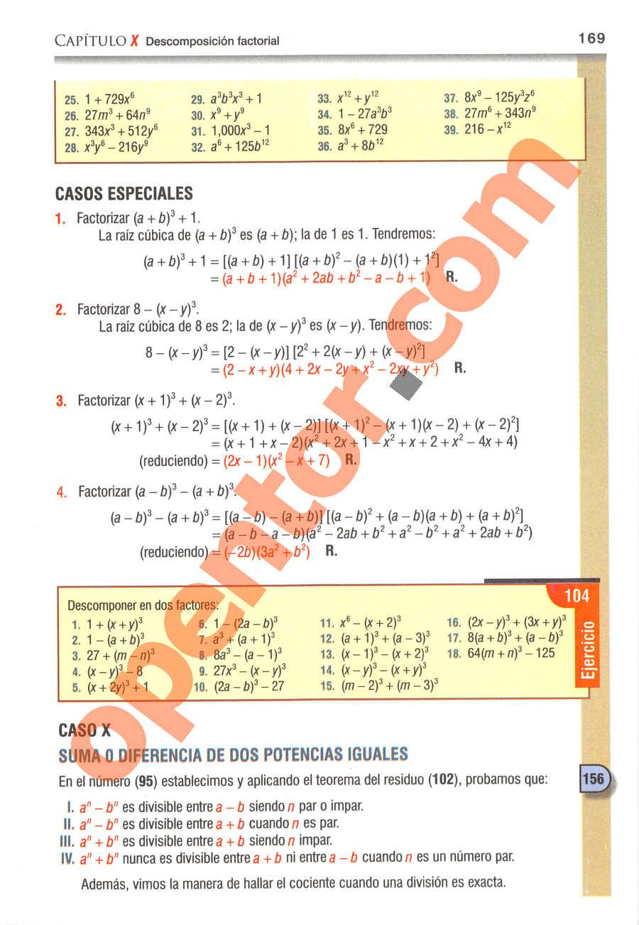 Álgebra de Baldor - Página 169