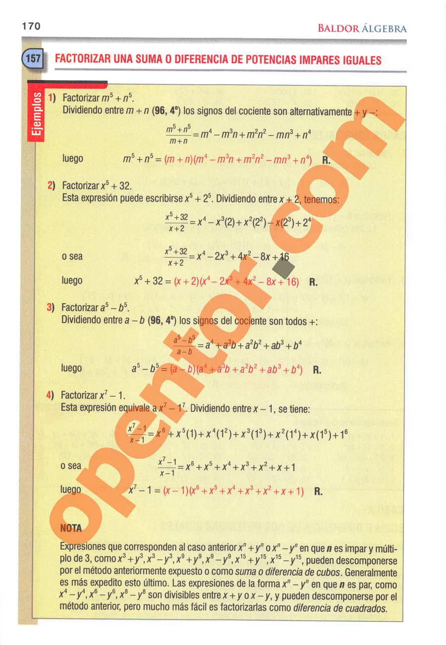 Álgebra de Baldor - Página 170