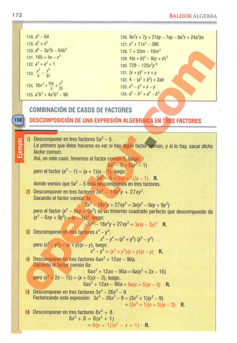 Álgebra de Baldor - Página 172