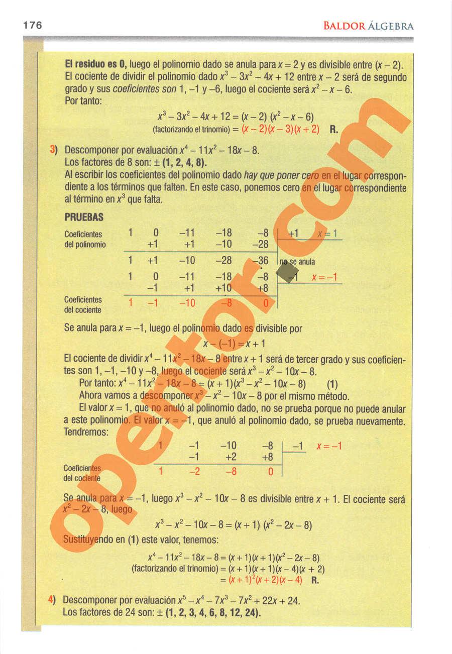 Álgebra de Baldor - Página 176