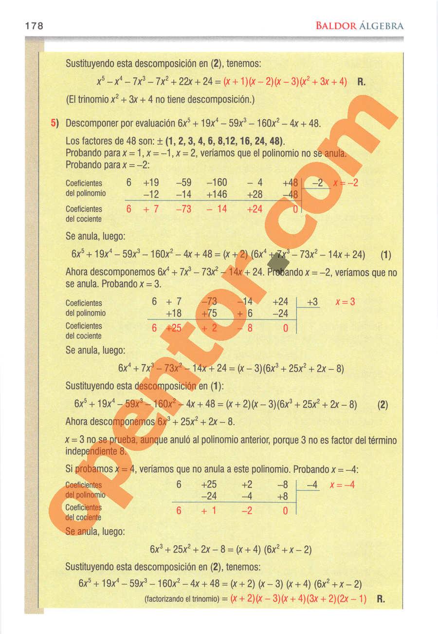 Álgebra de Baldor - Página 178