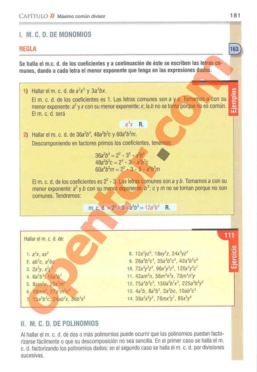 Álgebra de Baldor - Página 181
