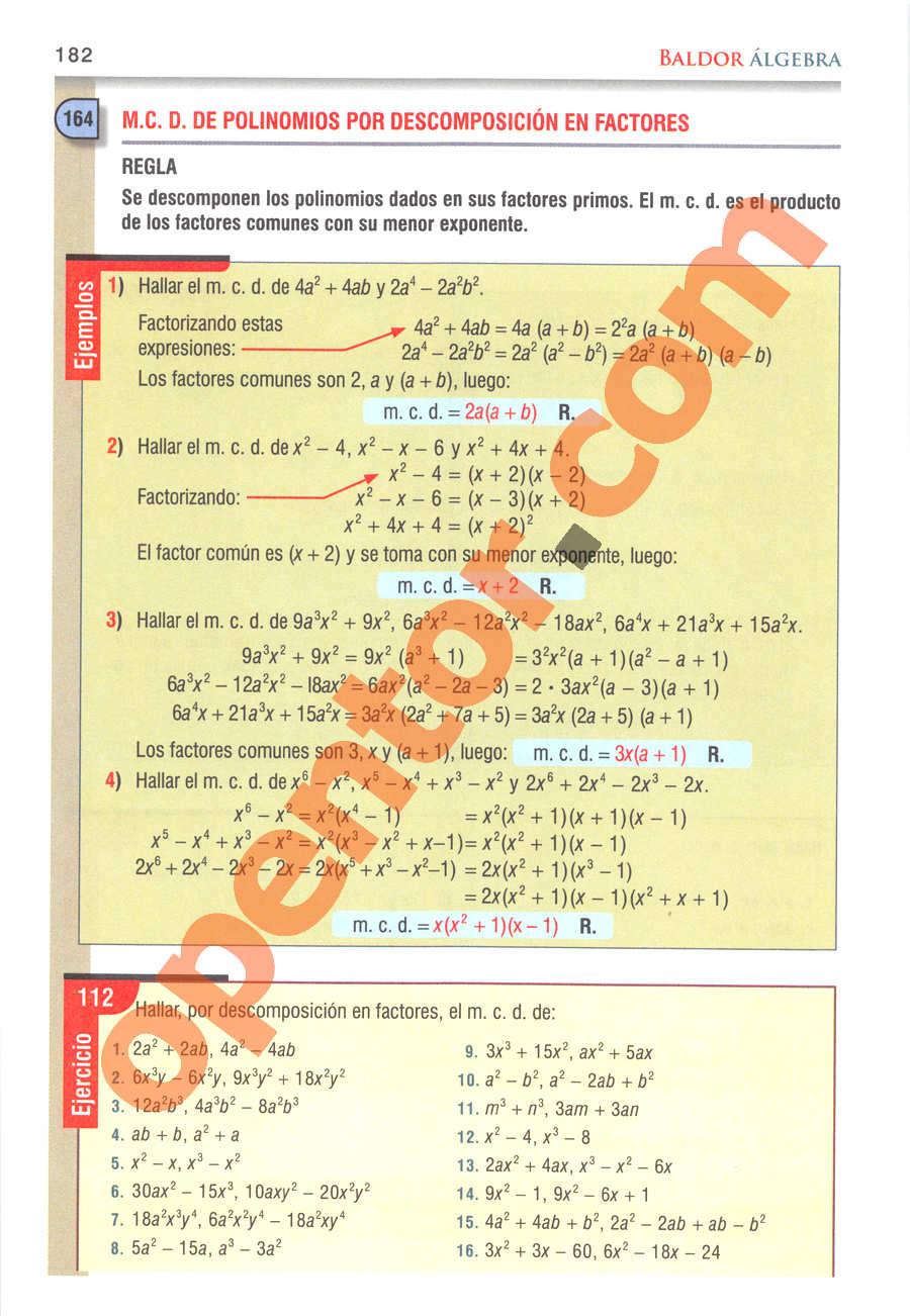 Álgebra de Baldor - Página 182