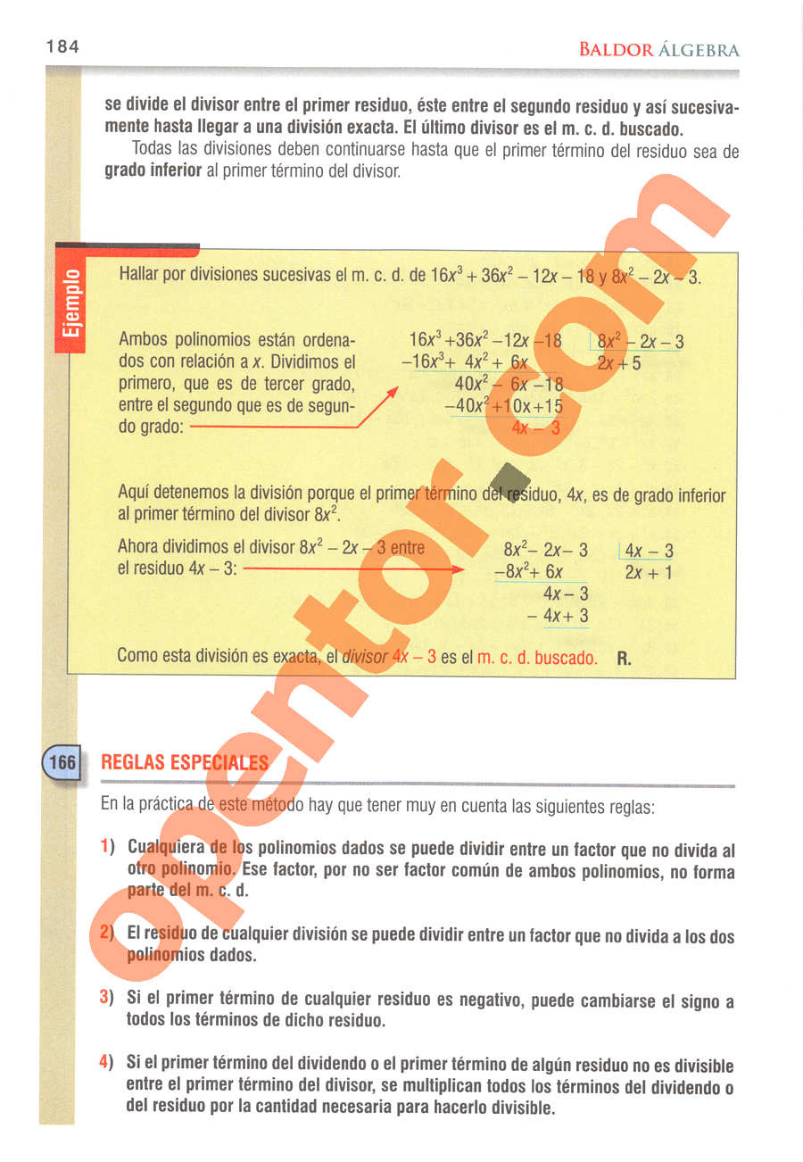 Álgebra de Baldor - Página 184