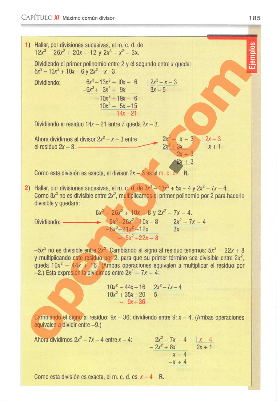 Álgebra de Baldor - Página 185