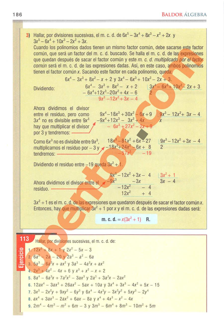Álgebra de Baldor - Página 186