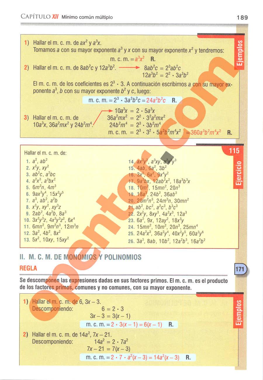 Álgebra de Baldor - Página 189