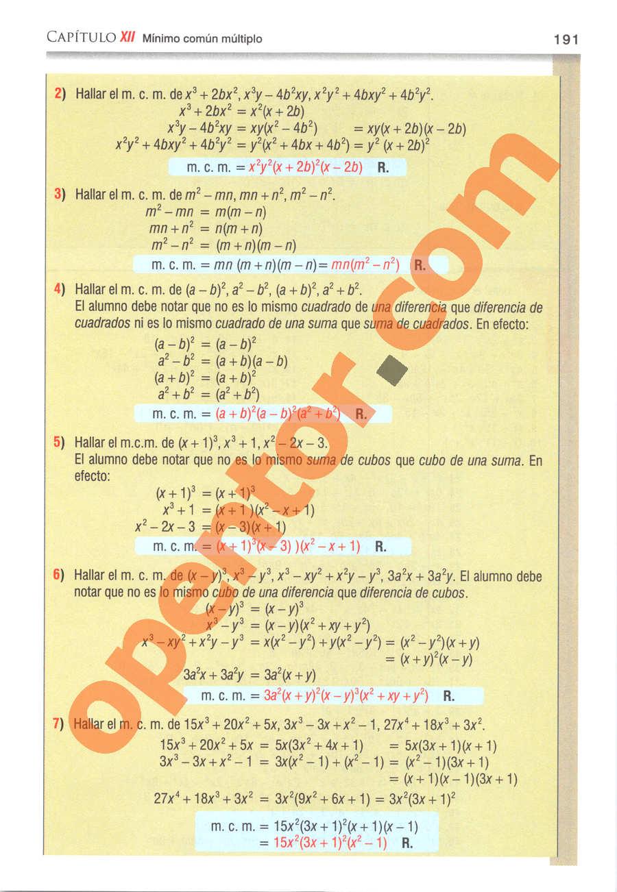 Álgebra de Baldor - Página 191