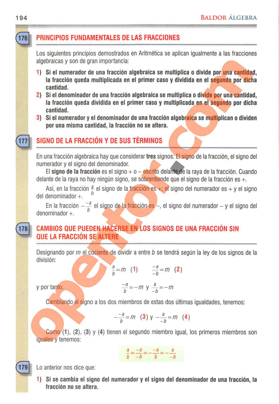 Álgebra de Baldor - Página 194