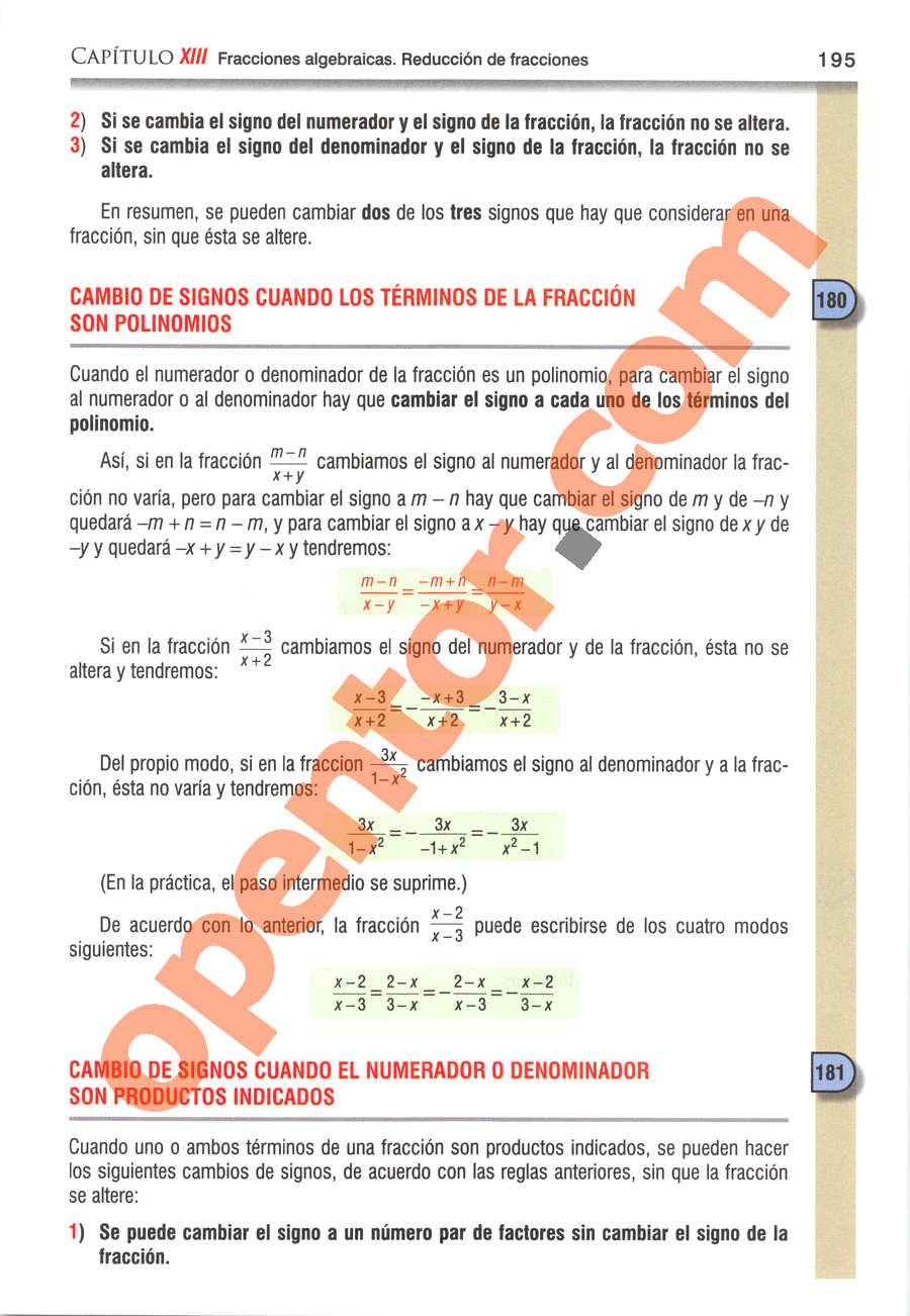 Álgebra de Baldor - Página 195