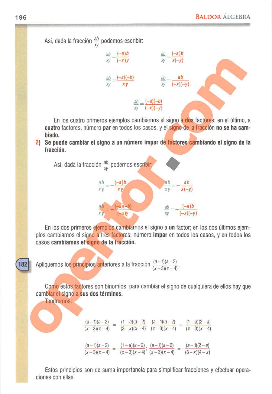 Álgebra de Baldor - Página 196