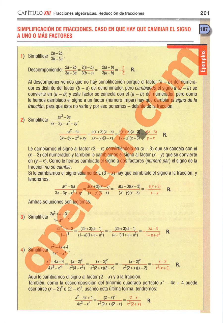 Álgebra de Baldor - Página 201