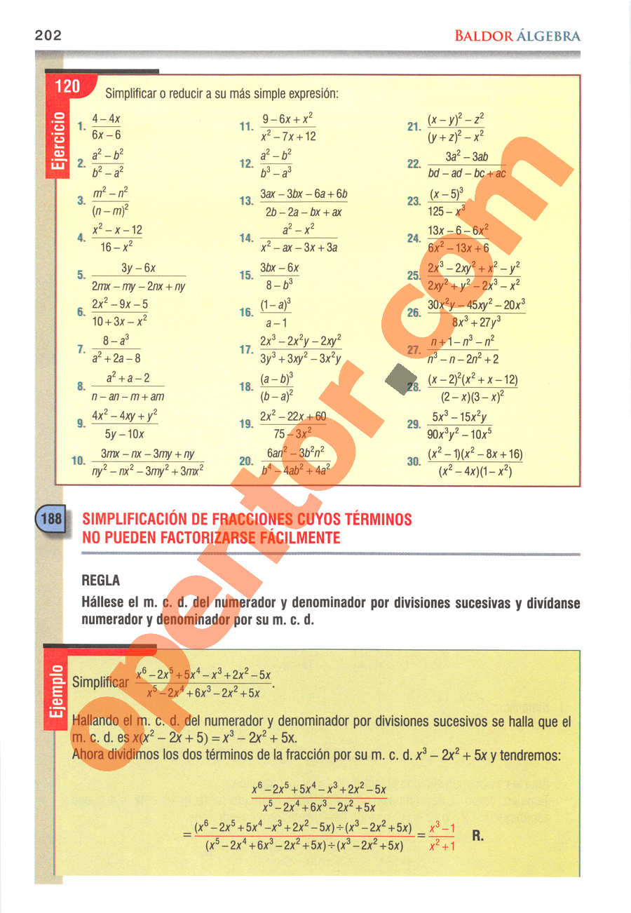 Álgebra de Baldor - Página 202
