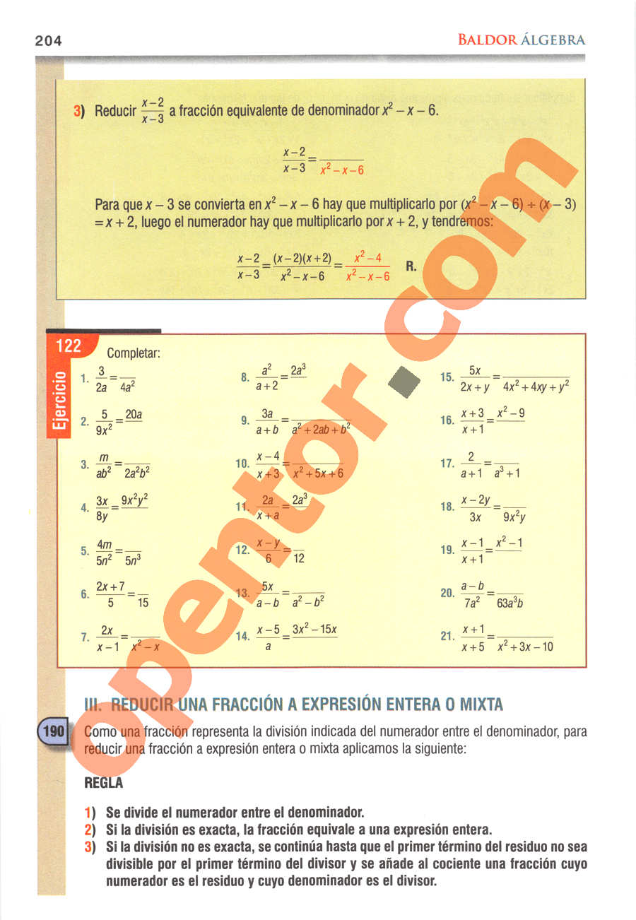 Álgebra de Baldor - Página 204