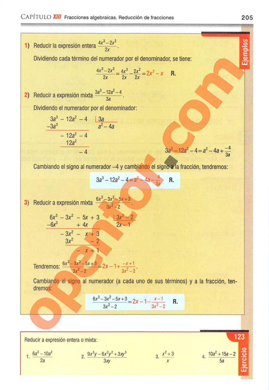 Álgebra de Baldor - Página 205
