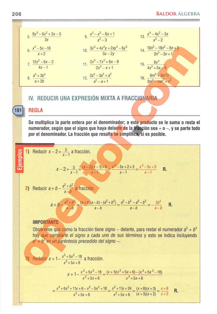 Álgebra de Baldor - Página 206