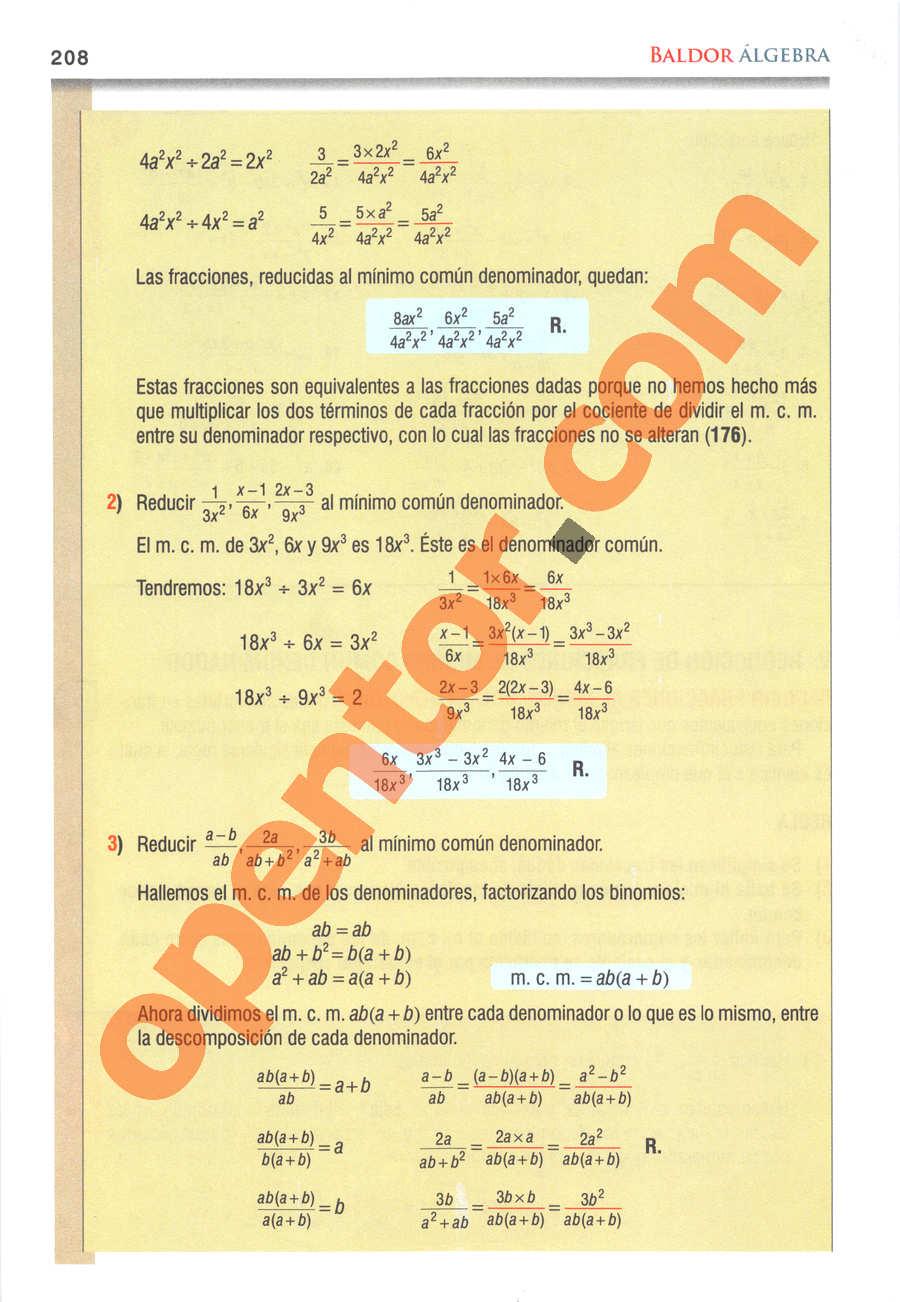 Álgebra de Baldor - Página 208