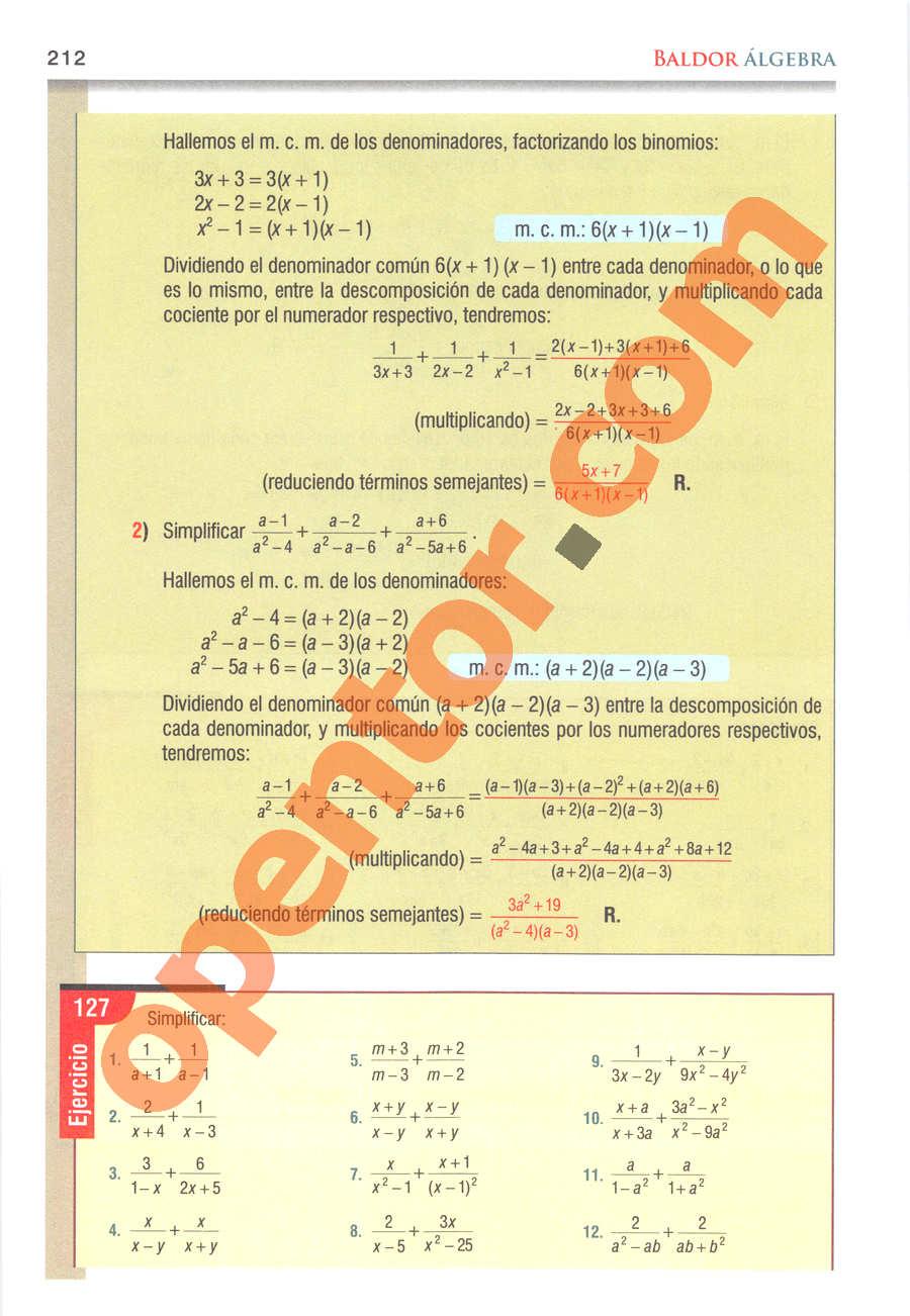 Álgebra de Baldor - Página 212