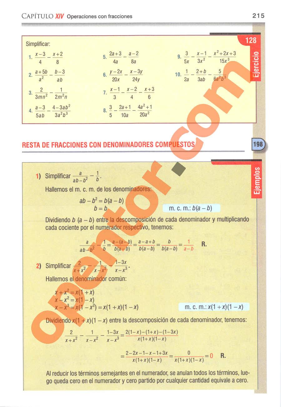 Álgebra de Baldor - Página 215