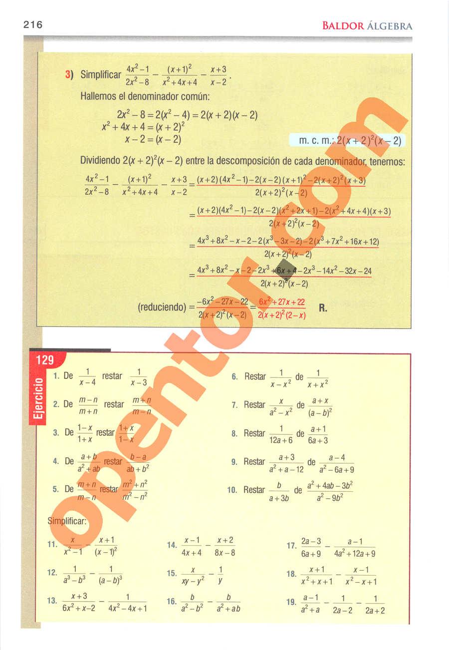 Álgebra de Baldor - Página 216