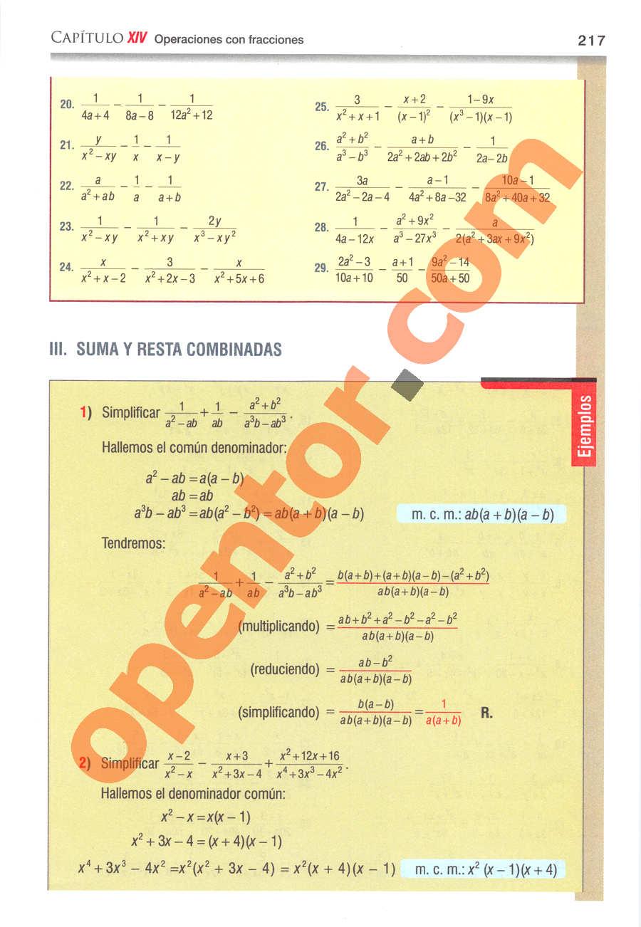 Álgebra de Baldor - Página 217