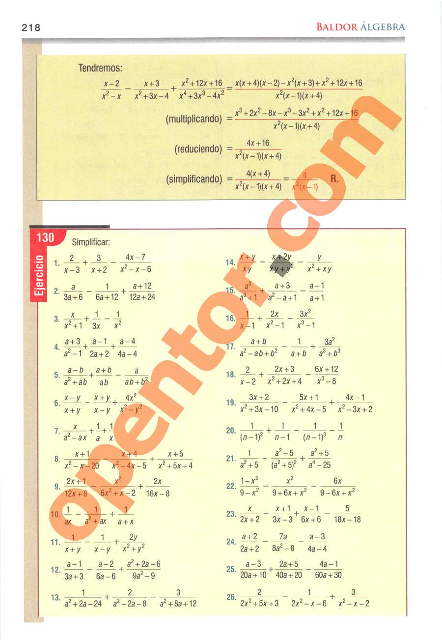 Álgebra de Baldor - Página 218