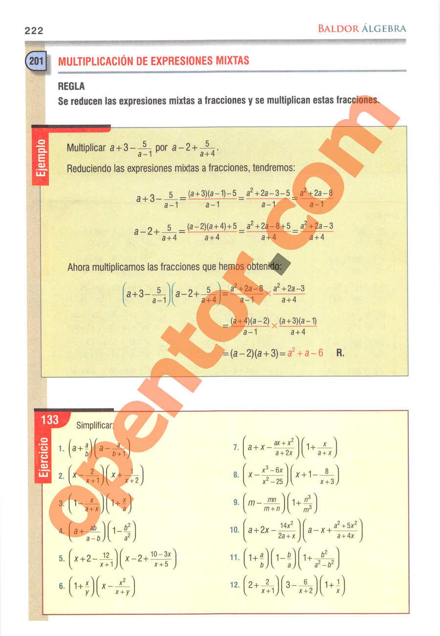 Álgebra de Baldor - Página 222