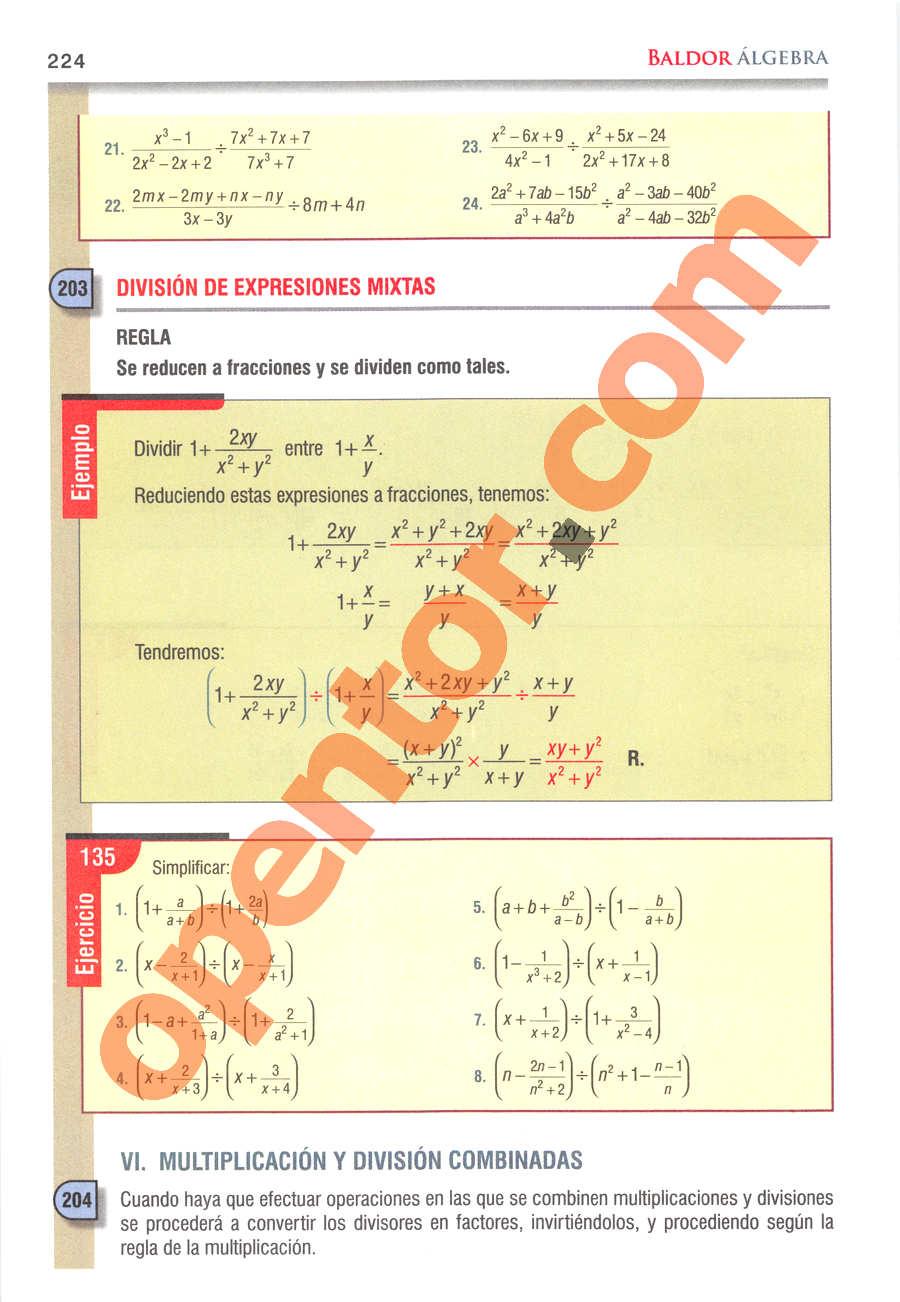 Álgebra de Baldor - Página 224