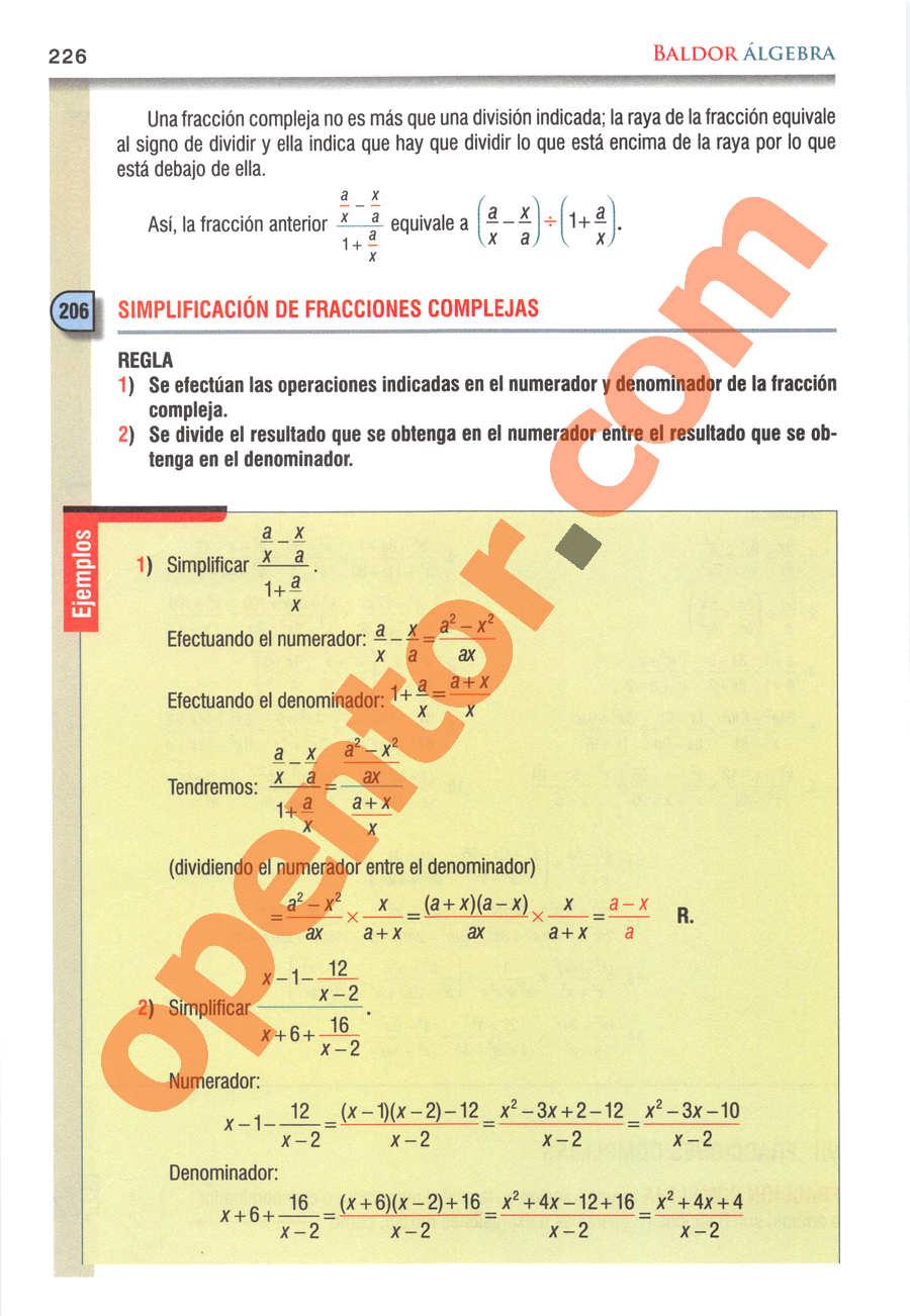 Álgebra de Baldor - Página 226
